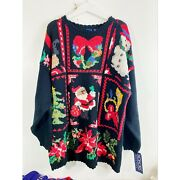 Vintage Honors Hand Knit Women's Christmas Sweater Plus Size New With Tags