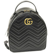 Gg Marmont Calf Black 476671 Backpack Free Shipping No.5876