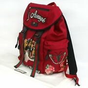 Embroidery Tiger Backpack 429037 Red Bags Previously Owned No.6449
