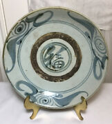 Antique 11andrdquo Chinese Hand Made Ming Dynasty Blue And White Porcelain Pottery Plate