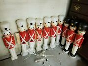 Blow Mold Toy Soldiers Light Up General Foam Christmas Decoration 30andrdquo Lot Of 10
