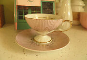Rare Lefton Hand Painted Pink Gold Tea Cup And Saucer Pegu Occupied Japan