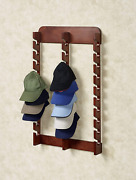 Touch Of Class Wooden Cap Display Rack, Classic Cherry, Triple Rack 30 Hat Slots