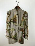 Hermes Coat Jacket 38 Wool Beg Linares Wind Instrument Cashmere Mixed No.7869