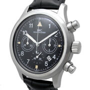 Chronograph Iw374002 Quartz Black Dial Date Stainless Leather Mens
