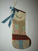 Vintage Christmas Stocking Hand Made From Antique Patchwork Quilts And Old Linens