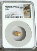 1857 S.s. Central America 1.32 Gram California Gold Rush Nugget Ngc W/pouch
