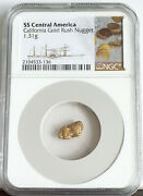1857 S.s. Central America 1.31 Gram California Gold Rush Nugget Ngc Cert W/pouch