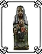 French Antique Religious Virgin Jesus Child Wood Carved Statue Polychromatic