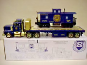 New Jersey State Police P.b.a Flatbed Trailer And 027 Scale Caboose Mint In Box.