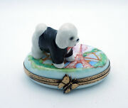 New French Limoges Trinket Box Dressed Up Bichon Frise Dog Puppy In Paris
