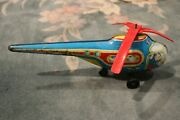 Antique Toy Town Airways Mechanical Tin Toy Helicopter Aircraft