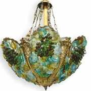 Large Murano Chandelier In Seafoam Colors With Grapes And Bronze Frame