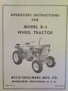 Allis Chalmers B-1 Garden Tractor And Implements Owner And Parts 6 Manuals