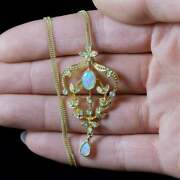 Antique Fire Opal Floral Drop Pendant 18 Chain Necklace 18k Yellow Gold Over