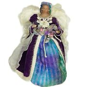 Angel Ethnic Christmas Tree Topper Vintage Victorian Feather Wings Fancy Purple
