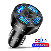 4 Usb Ports Car Charger Adapter Led Light Safe Fast Charging For Iphone Samsung