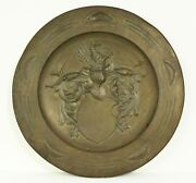 =antique 1800's Brass Wall Charger Platter W. Embossed Coat Of Arms