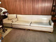 Mid Century Modern 60's Vintage Retro Beige Leather Couch And Chair Original