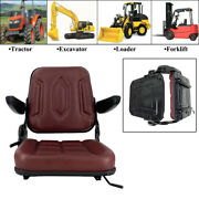 Lawn Garden Slidable Forklift Tractor Seat Riding Mower Seat Pvc W/ Armrest Red