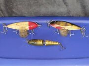 Lot Of 3 Creek Chub Bait Company Ccb Co Old Vintage Fishing Lures Glass Eyes
