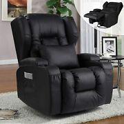Glider Recliner Chair Faux Leather Home Theater Swivel Recling Sofa W/cup Holder
