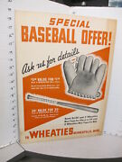 Wheaties Cereal Box Premium 1938 Cy Young Baseball Glove Bat Store Display Sign