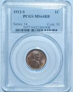 1912 S Pcgs Ms64rb Red And Brown Lincoln Wheat Cent