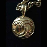 Vintage Necklace Cc Logo Mark Circle Top 46cm With Box Authentic I18560