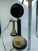 Antique Phone Electric Black Plastic Brass Rotary Telephone Home Collectable