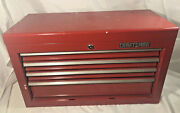 Vintage Craftsman 4 Drawer Steel Tool Box Chest - Top Opens - Made In Usa