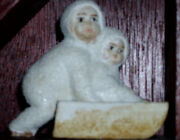 Antique German Snowbaby Pushing Baby On Sled Snow Bisque