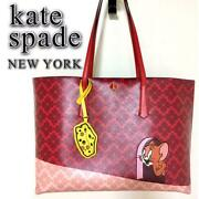 Kate Spade Tom And Jerry Tote Bag Shoulder Red Red Rare Rare