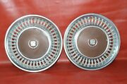 1973 -1978 Cadillac Deville Fleetwood Hubcaps 15 Wheel Covers Brown Pair