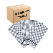 Case Of 144 Checkered Kitchen Towels 15x25 In.,color Options, Absorbent Cotton