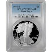 1986-s Proof American Silver Eagle One Dollar Coin Pcgs Pr70 Dcam