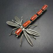 Herbert Ration Navajo Hand-stamped Sterling Silver Coral Dragonfly Pin/brooch