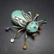 Herbert Ration Navajo Sterling Silver Turquoise Bug Insect Gemstone Pin/brooch