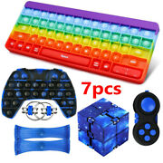 7pack Keyboard Popit Fidget Toys Set Gamepad Infinity Cube Stress Reliever Gifts