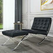 Black Barcelna Chair Lounge Chair And Ottoman Footstool Real Leather Club Chair