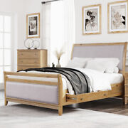 Queen King Size Upholstered Wood Bed Frame With 4 Storage Drawers Furniture Us