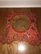 """Cast Iron Christmas Tree Stand Large Heavy Holly Bells Vtg Antique 15"""" X 15"""""""