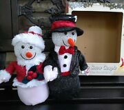 Singing Animated Snowmen Couple We Wish You A Merry Christmas W/ Lights Seevideo