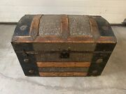 1880 Antique Trunk Dome Top Wooden Metal Tin Flowers Pat Date March 1880