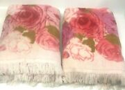 Pair Of Vintage Pink Roses Very Soft Fringed Bath Towels No Tags Shabby Chic
