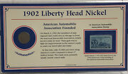 1902 Liberty Head Nickel And Stamp Panel American Automobile Association Founded