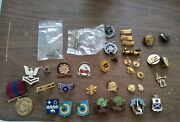Vintage Lot Of Military And Other Pins Buttons Medalvarious Branches Of Military
