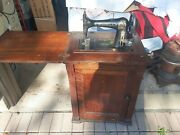 Antique 1900and039s Minnesota Model A Treadle Sewing Machine In Wood Cabinet