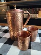 Hammered Copper Water Pitcher With 2 Cups Vintage