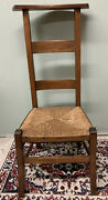 Antique Wooden French Prayer Chair Woven Seat. Excellent Cond. Two Available